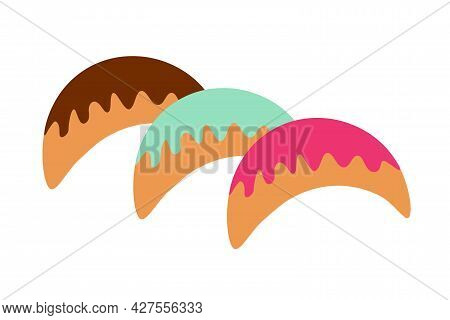 Bagels With Various Fillings And Colored Glaze On An Isolated Background. Tea Time. Dessert. Design