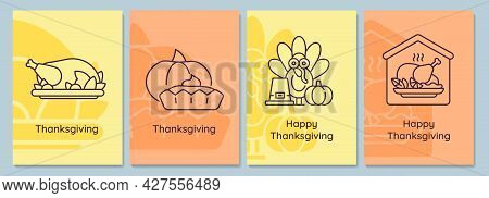 Thanksgiving Holidays Postcards With Linear Glyph Icon Set. Turkey, Pie. Greeting Card With Decorati
