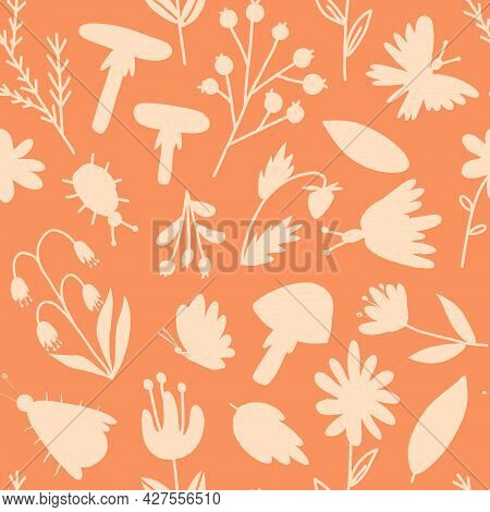 Forest Flora And Insects Silhouettes Seamless Pattern. Flowers, Leaves, Plants, Mushrooms, Berries,