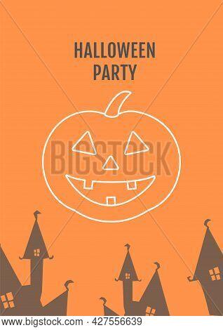 Halloween Pumpkin Festival Postcard With Linear Glyph Icon. Jack-o-lantern. Greeting Card With Decor