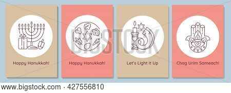 Hanukkah Celebrating Postcards With Linear Glyph Icon Set. Jewish Festival. Greeting Card With Decor