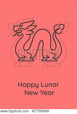 Happy Spring Festival Postcard With Linear Glyph Icon. Lunar Calendar. Greeting Card With Decorative