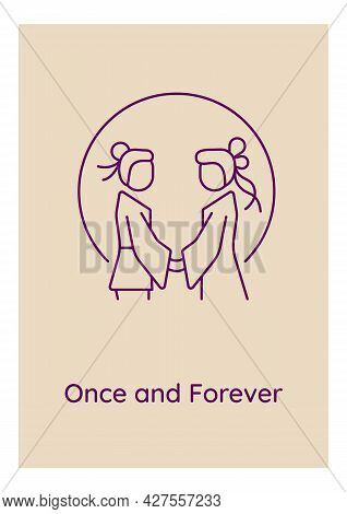 Together Forever Postcard With Linear Glyph Icon. Eternal Love. Greeting Card With Decorative Vector