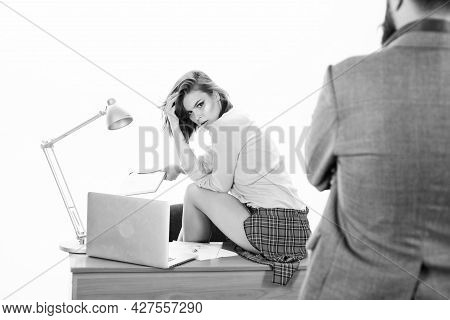 Lets Repeat The Previous Lesson. Pretty Tutor Teaching Business Lesson To Businessman. Man Looking A