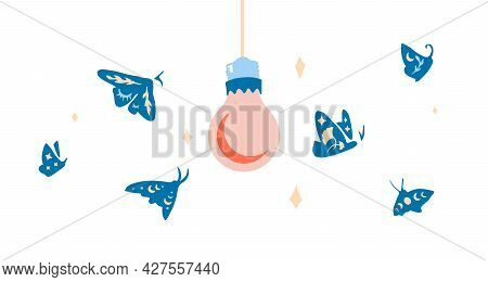 Isolated Swarm Of Butterflies And Moths Flying Towards The Light. Magical Insects With Mystical, Ast