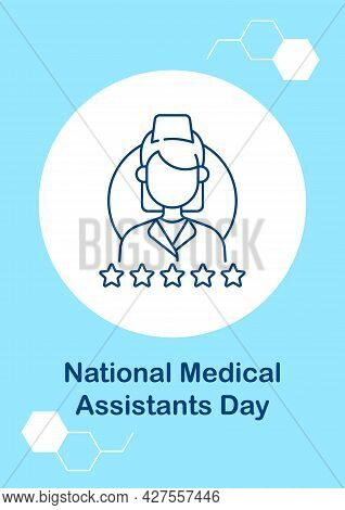 Honoring Medical Assistants Postcard With Linear Glyph Icon. Ma Day. Greeting Card With Decorative V