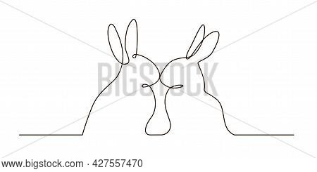 Continuous Line Art Of A Romantic Rabbits. Two Sitting Bunnies Touching Their Noses, A Pair Of Anima