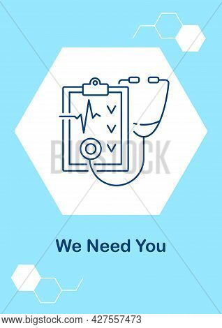 Need Doctors And Nurses Postcard With Linear Glyph Icon. Health Workforce. Greeting Card With Decora