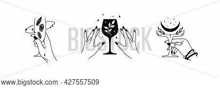 Elegant Female Hands Holding Glasses With Mystical Elements. Esoteric Spiritual Symbols. Vector Cele