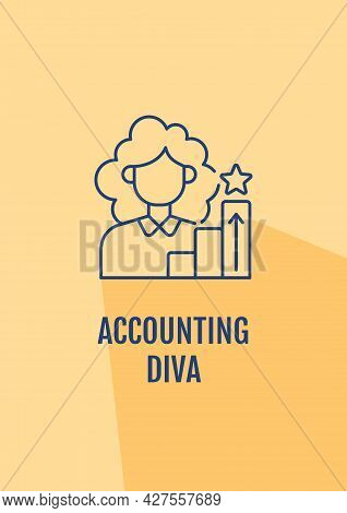 Accountant Excellent Reputation Postcard With Linear Glyph Icon. Greeting Card With Decorative Vecto