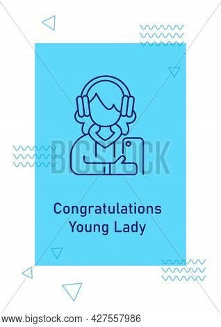 Recognizing Young Lady Actions Postcard With Linear Glyph Icon. Greeting Card With Decorative Vector