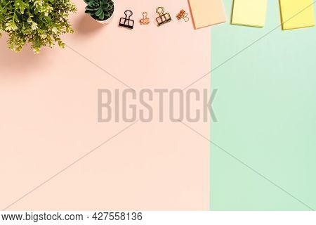 Minimal Work Space - Creative Flat Lay Photo Of Workspace Desk. Top View Office Desk With Adhesive N