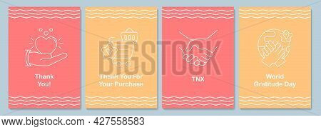 Celebrate Global Appreciation Day Postcards With Linear Glyph Icon Set. Greeting Card With Decorativ