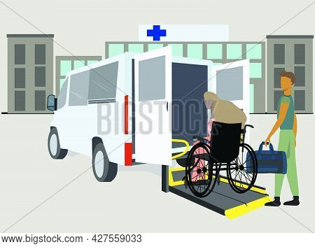 Male Nurse Helping Young Disabled Woman At Disabled Transit Bus With Access Ramp At The Hospital. Ve