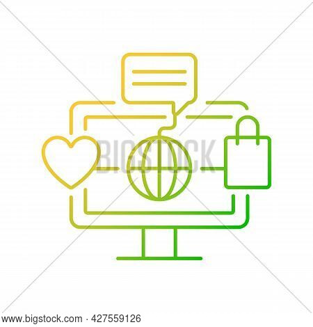 Online World Gradient Linear Vector Icon. Digital Shopping Experience. Telecommuting. Using Social M