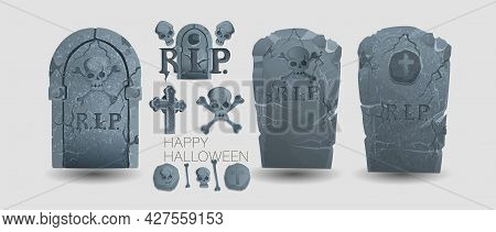 Halloween Elements And Objects For Design Projects. Tombstones For Halloween. Ancient Rip. Grave On