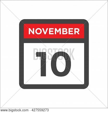November 10 Calendar Icon W Day Of Month