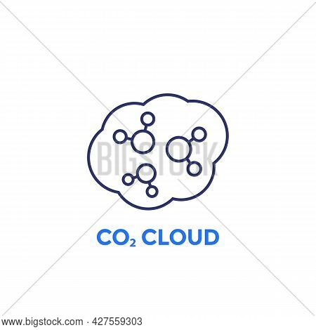 Co2 Cloud Line Icon On White, Vector