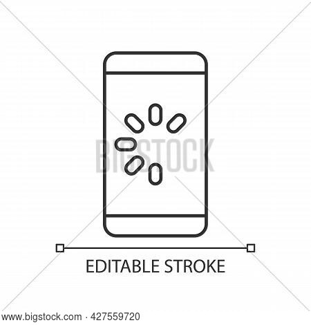 Slow Phone Linear Icon. Speed Up Mobile Phone. Cellphone Speed Malfunction. System Failure Reason. T