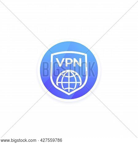 Vpn Icon With Shield For Apps, Vector
