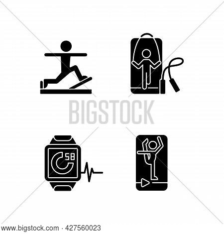 Online Fitness Gymnastic Trends Black Glyph Icons Set On White Space. Pilates, Stretching And Jumpin