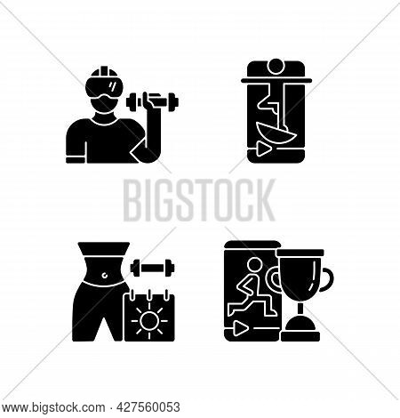Online Fitness Marathons And Challenges Black Glyph Icons Set On White Space. Virtual Reality And Ba