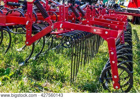Russia, Leningrad Region - June, 2019: Working Bodies Of Equipment For Land Cultivation. Agricultura