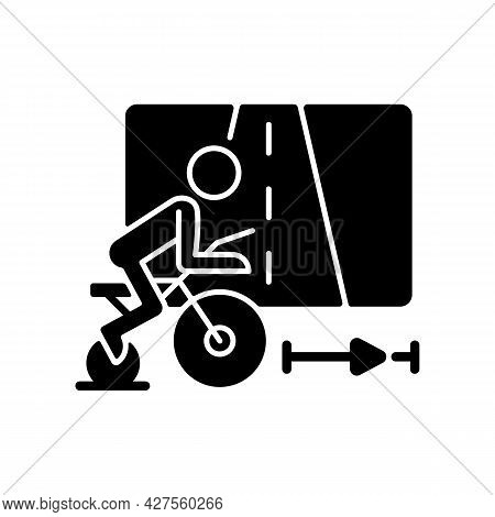 Virtual Cycling App Black Glyph Icon. Online Fitness Rally Sport. Racing Competition. Indoor Traveli