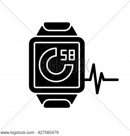 Online Fitness Activity Tracker Black Glyph Icon. Walked And Run Distance Monitoring App. Calorie Co