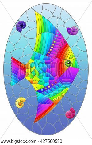 Illustration In The Style Of A Stained Glass Window With A Bright Rainbow Fish Scalar On A Backgroun