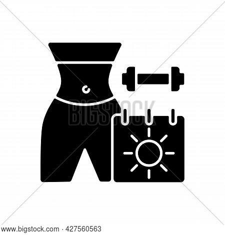 Online Seasonal Fitness Marathons Black Glyph Icon. Summer And Winter Training Challenges. Virtual S