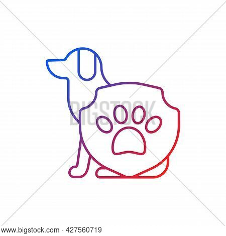 Animal Protection Gradient Linear Vector Icon. Pet Welfare Label. Cruelty Free Mark For Vegan Brand.