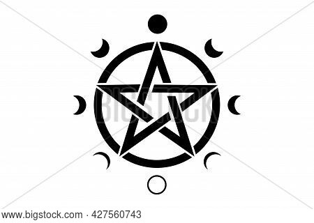 Pentacle Circle Symbol And Phases Of The Moon. Wiccan Symbol, Full Moon, Waning, Waxing, First Quart