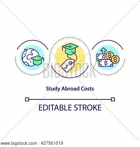 Study Abroad Costs Concept Icon. Tuition And Living Fees Abstract Idea Thin Line Illustration. Inter