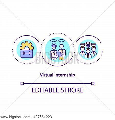 Virtual Internship Concept Icon. Remote Intern Abstract Idea Thin Line Illustration. Communicating W