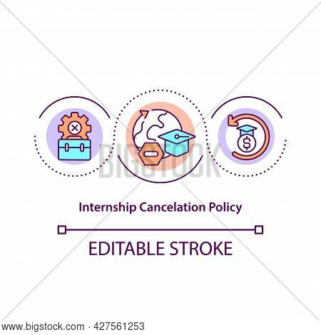 Internship Cancellation Policy Concept Icon. Dismissing Student From Program Abstract Idea Thin Line