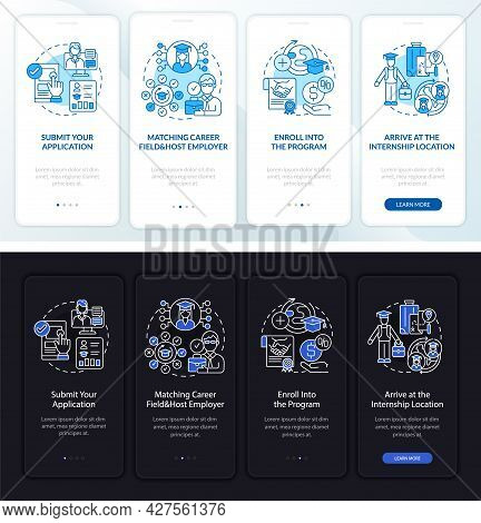 Internship Overseas Onboarding Mobile App Page Screen. Submission Walkthrough 4 Steps Graphic Instru