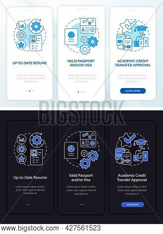 Internship Requirements Onboarding Mobile App Page Screen. Updated Cv Walkthrough 3 Steps Graphic In