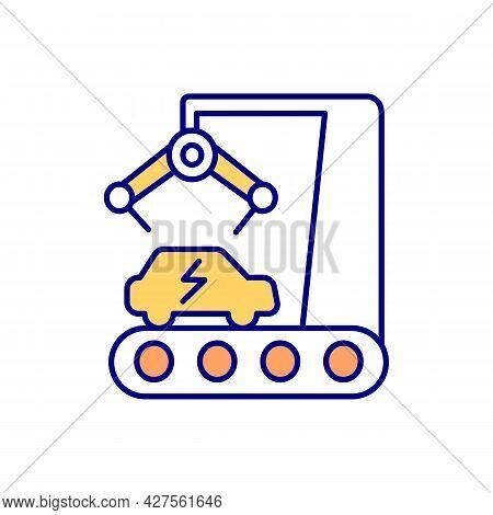 Ev Generation Rgb Color Icon. Electric Vehicle Manufacturing. Hybrid Car Development. Automobile Ass