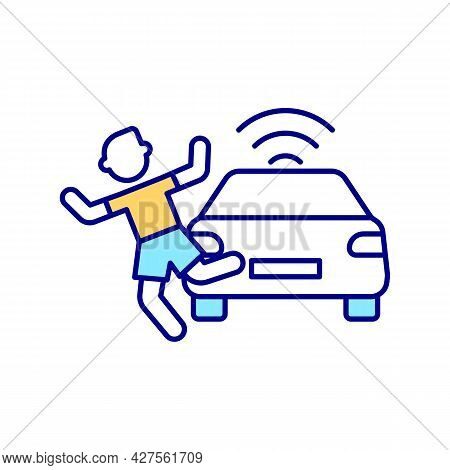 Car Accident Rgb Color Icon. Moral Machine Diiemma. Artificial Intelligence Problems. Driverless Car