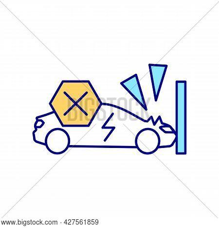 Ev Protection Rgb Color Icon. Electric Vehicles Accidents Prevention. Car Crash Protection. Safe Dri