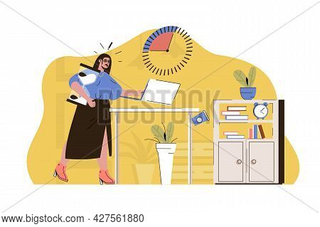 Crunch Time Concept. Woman Does Not Complete Work Task In Due Time Situation. Business Deadline, Job