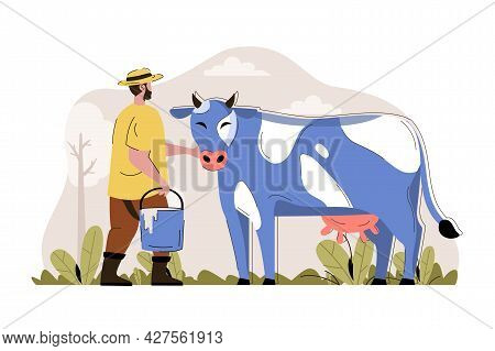 Dairy Farming Concept. Farmer Stands By Cow And Holds Bucket Of Milk Situation. Livestock, Animal Hu