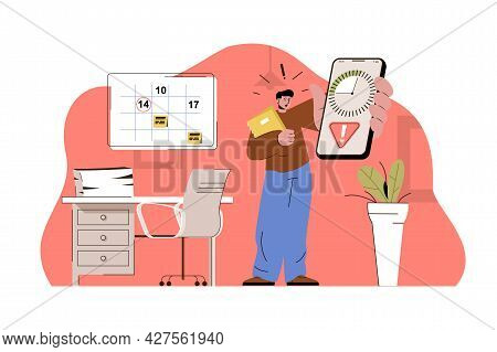 Deadline Date Concept. Worried Employee Holds Phone With Timer, Deadline For Task Situation. Work St