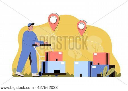 Delivery Warehouse Concept. Working Loader Carries Parcels On Trolley Situation. Global Logistics, S