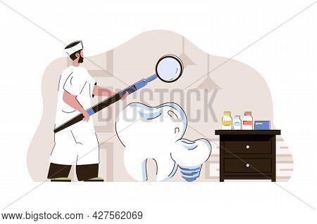 Dental Medicine Concept. Dentist Examines Teeth, Diagnoses And Prescribes Treatment Situation. Medic