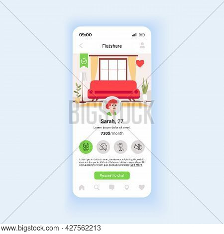 Searching For Flatmate Smartphone Interface Vector Template. View Post From Potential Housemate. Mob