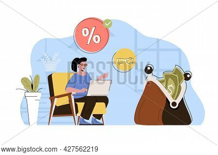 Favorable Discounts Concept. Woman Buying Online At Best Prices On Sale Situation. Smart Shopping, S
