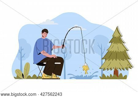 Fishing Holiday Concept. Man Fisherman Catches Fish With Rod, Resting In Forest Situation. Hobby And