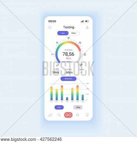 Network Monitoring Smartphone Interface Vector Template. Mobile App Page Design Layout. Measuring Ne